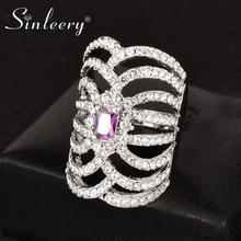 SINLEERY Brand Square Purple Crystal Hollow Long Finger Ring White Gold Color Cubic Zirconia Jewelry Anel JZ007