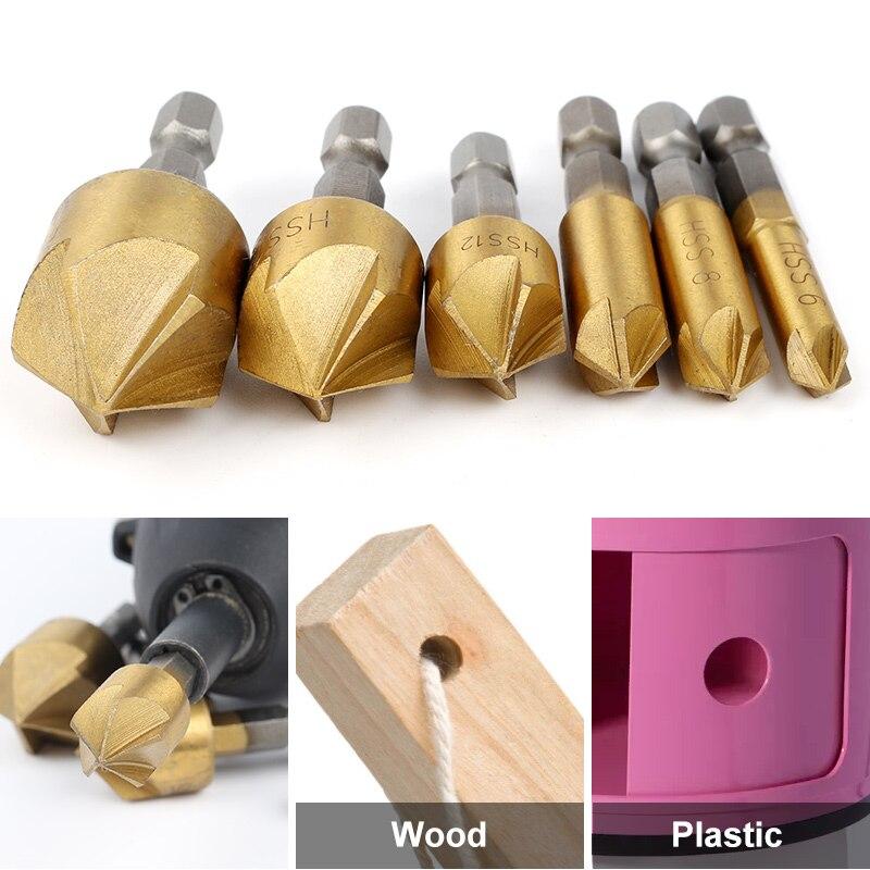 HOEN 6PCS 5 Flute HSS Drill Bit Hard Metals Natural Color Five Edge Chamfer Chamfering End Mill Cutter Countersink