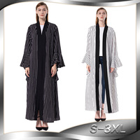 New 2019 Fashion classic Abaya Loose dress Women stripe PrINT Kimono Cover Ups Summer Casual Maxi Dresses