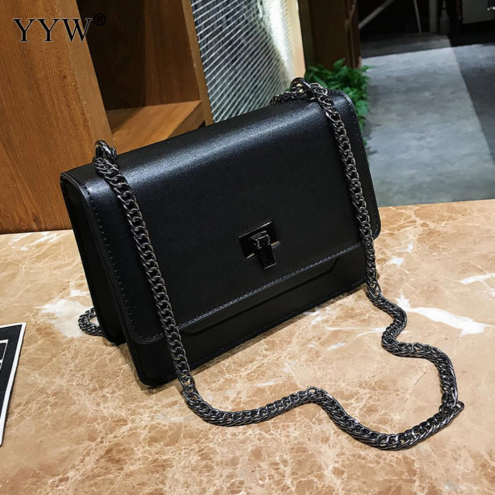 YYW Cheap Price Vintage Ladies Leather Shoulder Crossbody Bag Black Chain Shoulder Bag Pu Leather Women Messenger Small Bag metallic pu chain crossbody bag