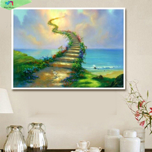 Modern diy oil painting wall art flowers pictures Painting by numbers cuadros decoracion Jim warren Stairway to heaven HY1017