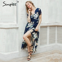 Simplee Apparel Sexy V Neck Floral Summer Dress Evening Wedding Party Dress Boho Women Dress Vintage
