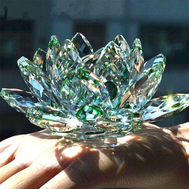 80mm kwarcowy rękodzieło, kryształ, kwiat lotosu szklany przycisk do papieru feng shui ozdoby figurki Home dekoracje weselne prezenty pamiątkowe
