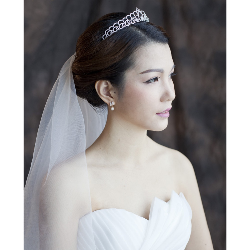 Bridal Wedding Tiara Clear Crown Hair Jewelry Micro Pave AAA CZ Birthday Party Head Piece Hair A TR15025