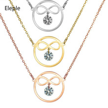 Eleple Geometry Zircon Inlaid Necklace Earrings Set for Women Stainless Steel Rose Gold Clavicle Chain Jewelry Wholesale S-12-21
