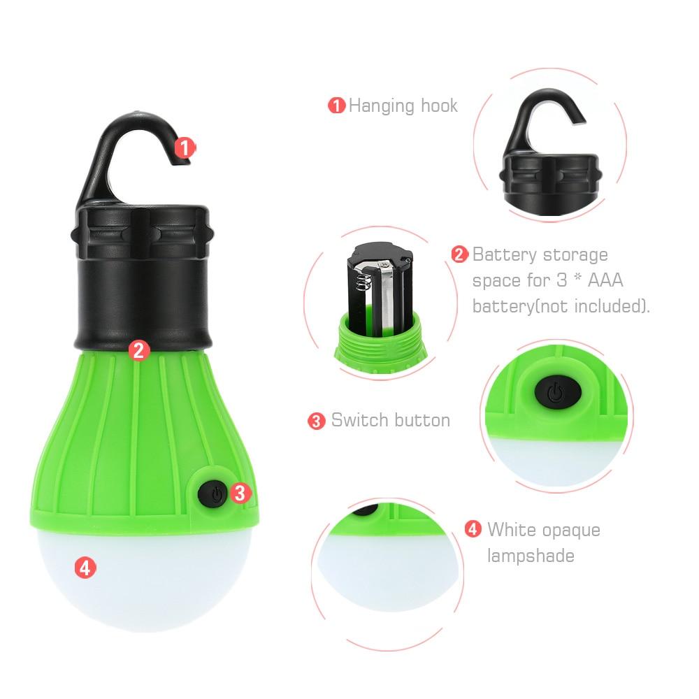 Mini lanterne Portable d'urgence, alimentée par batterie, accessoires pour tente de camping en plein air, plage en plein air 6