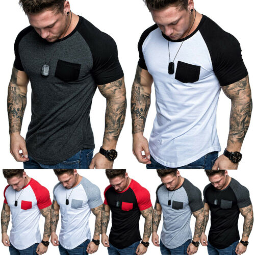 New Men's Short Sleeve T-shirts Slim Fit Casual Blouse Shirt Summer Holiday Beach Basic Muscle Tee Tops Shirts 2019 New