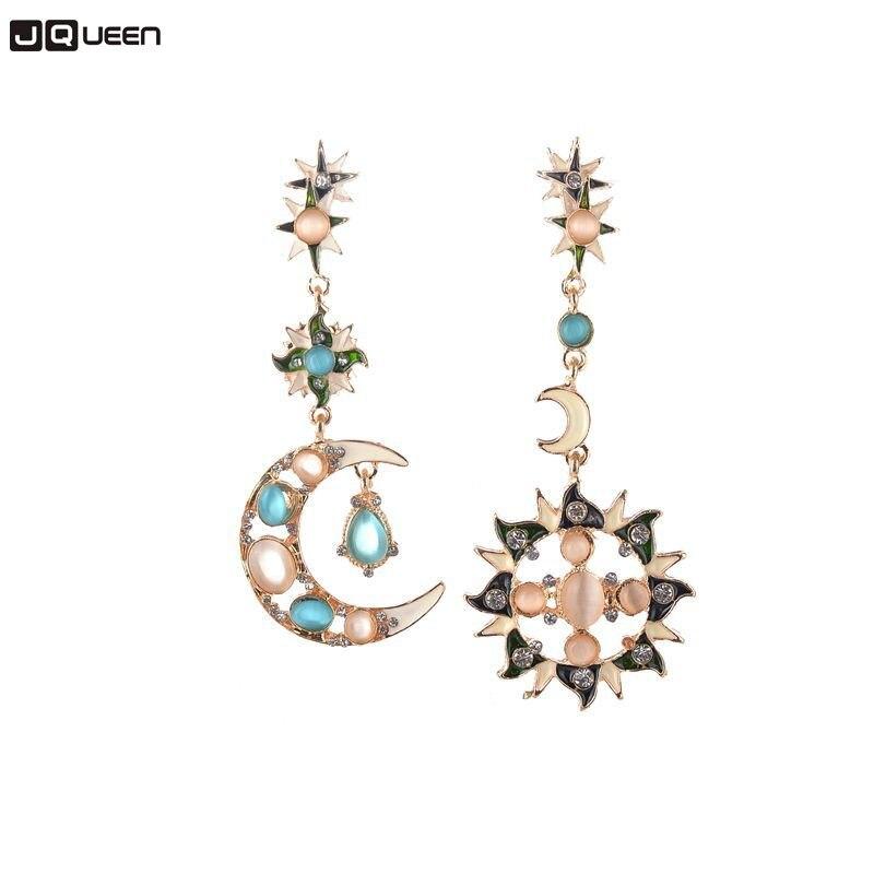JQUEEN Cute Fashion Trendy Sun Moon Crystal Dangle Earrings Women Girls Party Shopping Jewelry Gift