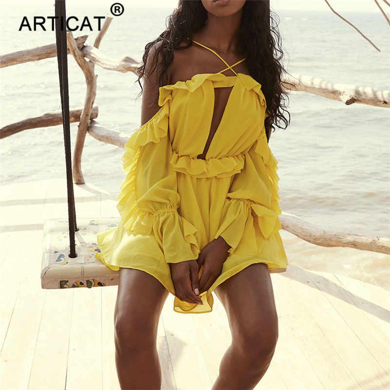 Articat шифоновое летнее платье с открытыми плечами, женское Плиссированное короткое пляжное платье без бретелек, праздничное платье в стиле бохо, Повседневное платье Vestidos