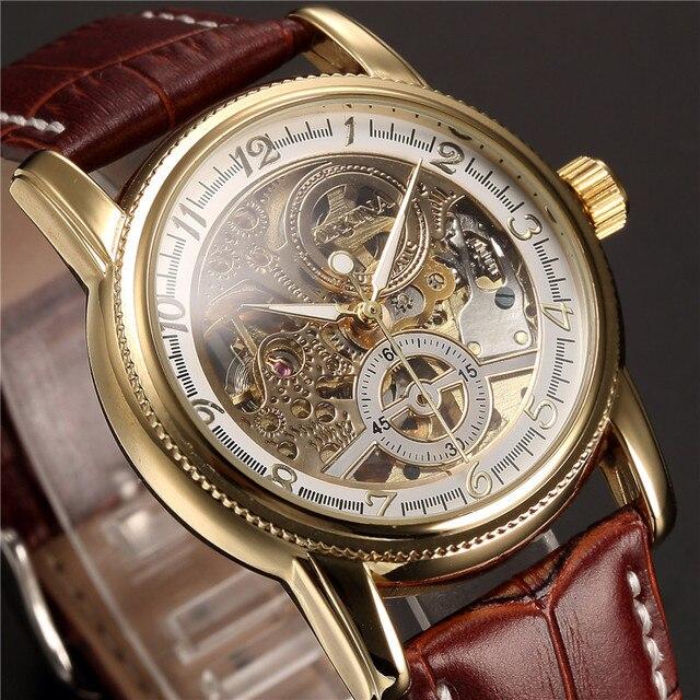 男性腕時計高級ゴールデンスケルトン機械式スチームパンク男性時計自動腕時計革ストラップヘレン Horloges