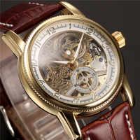 Männer Handgelenk Uhren Luxus Goldene Skeleton Mechanische Steampunk Männlichen Uhr Automatische Armbanduhr Lederband Herren Horloges