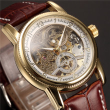 Men Wrist Watches Luxury Golden Skeleton Mechanical Steampunk Male Clo