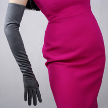 Suede Gloves Black Matte Sanded Simulation Leather Without Lined WomenS Long Section 60cm TB23