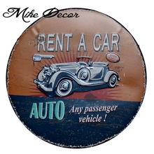 [ Mike Decor ] RENT A CAR Wall Sign Painting Retro Gift Metal Plaque Craft Hotel Festival Club decor YA-979