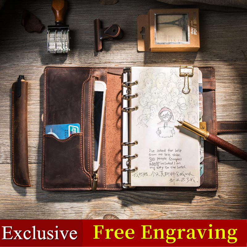 Multifonctionnel Vintage en cuir Design carnet de voyage Journal journal Journal fait à la main 2019 balle journal planificateur bloc-notes a5