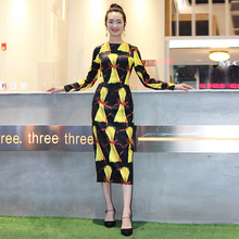 High Quality 2019 Autumn And Winter Fashion Runway Show New Popular Long Sleeved Black Women Dress Straw Stamp Free Shipping