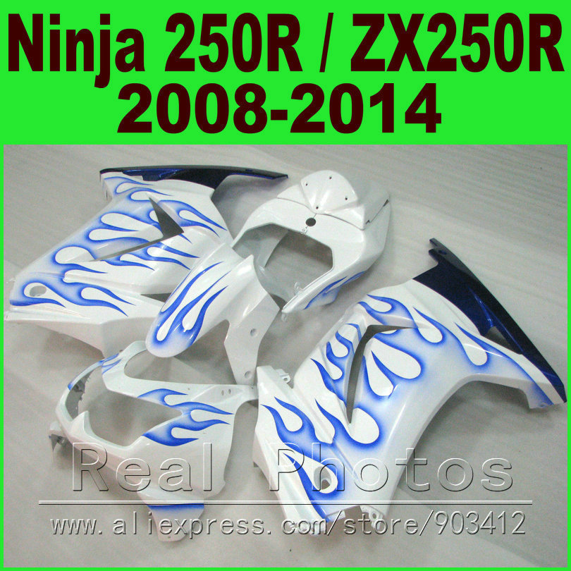 Fit Ninja 250R Fairing kit 2008 2009 2010 - 2014 for Kawasaki ZX 250 EX250 blue flames body kits 08 09 10 11 12 13 14 fairings