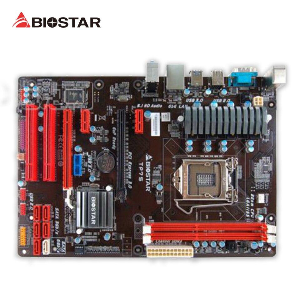 BIOSTAR TP75 Original Used Desktop Motherboard B75 LGA 1155 i7 i5 i3 DDR3 16G SATA3 USB3.0 ATX original used desktop motherboard for colorful c h61hd v20 support lga 1155 2 ddr3 support 16g 4 sata2 mini itx
