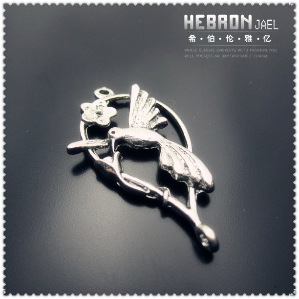 Tibetan Silver (50pcs) Zinc Alloy Jewelry Accessories Classic Bird Pendant(3826#) 20*35 mm Free ship