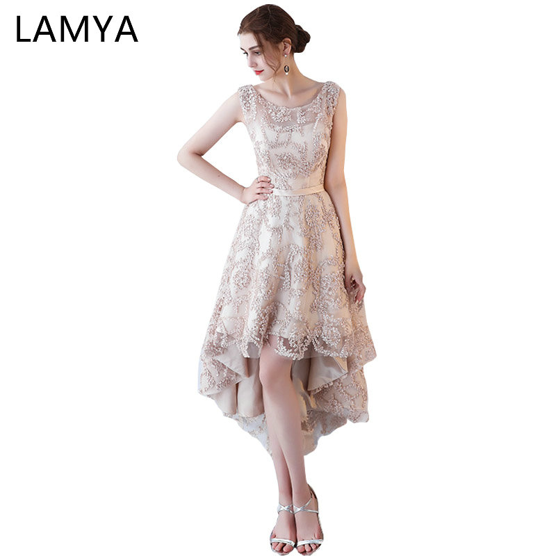 Lamya Princess Short Front Back Long Tail Dresses Elegant 2018 Lace Up Evening Party Gown Women Special Occasion Dress In From