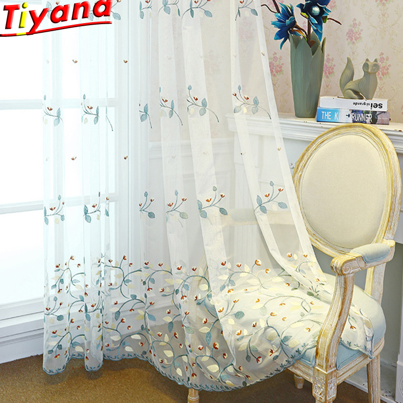 Pastoral Style Voile Tulle Sheer Bedroom Living Room Windows Curtains High-grade Embroidery Flower Screens Sweet Style WP406#40