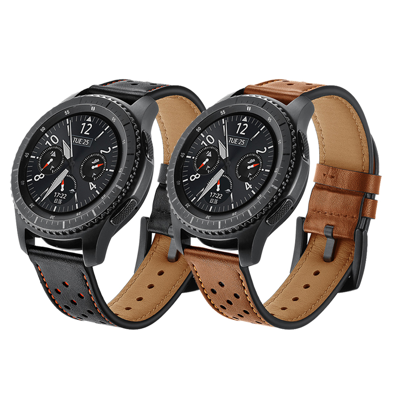 Gear S3 Frontier For Samsung Galaxy Watch 46mm Amazfit Zip Huawei Watch Gt Strap 22mm Watch Band Retro Genuine Leather Bracelet