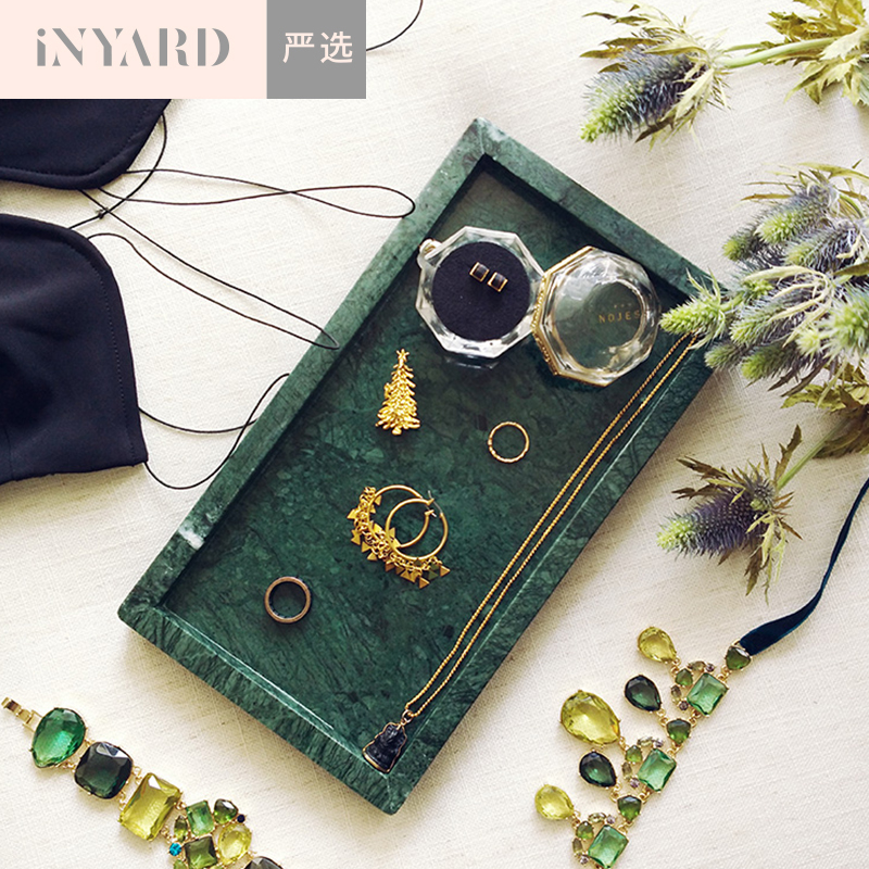 [InYard selected]Natural marble tray original single export dark green pure white round rectangular decoration natural marble tr