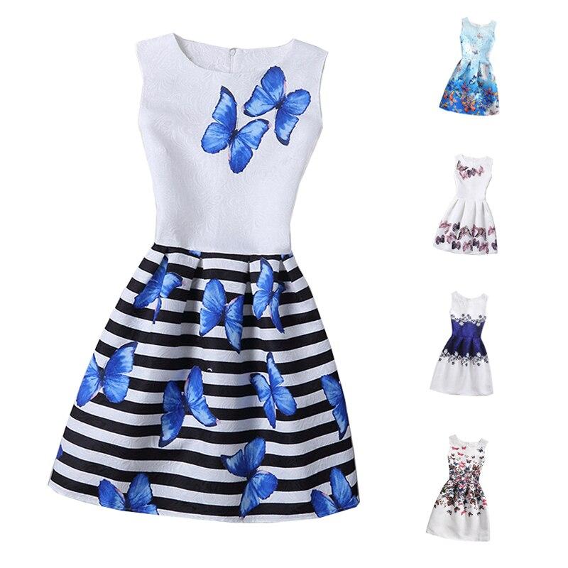 2017 девушки летнее платье цветочные бабочка печати подростки платья для девочек дизайнер вечернее платье дети платье 6-12 лет проживает
