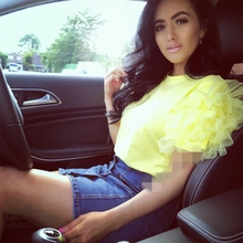Elegant Women Summer Layered Lace Tulle Ruffle Short Puff Sleeve Shirt