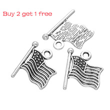 Vintage American Flag Design Charms For Jewelry Making Bracelet Necklace Earrings Keychain Antique Silver Plated Charm
