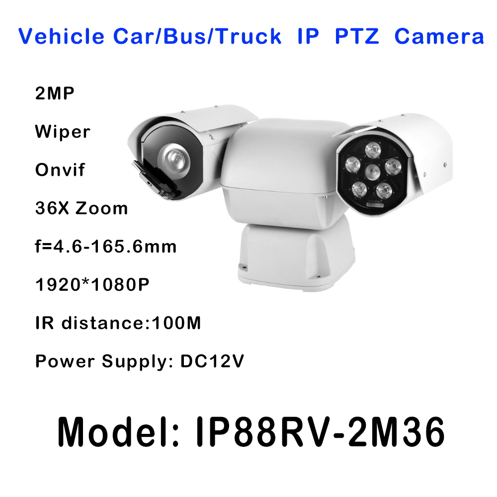 DC12V mobile car bus vehicles mount IR 100m Day Night 36 x Optical Zoom Heavy Duty PTZ IP camera Onvif