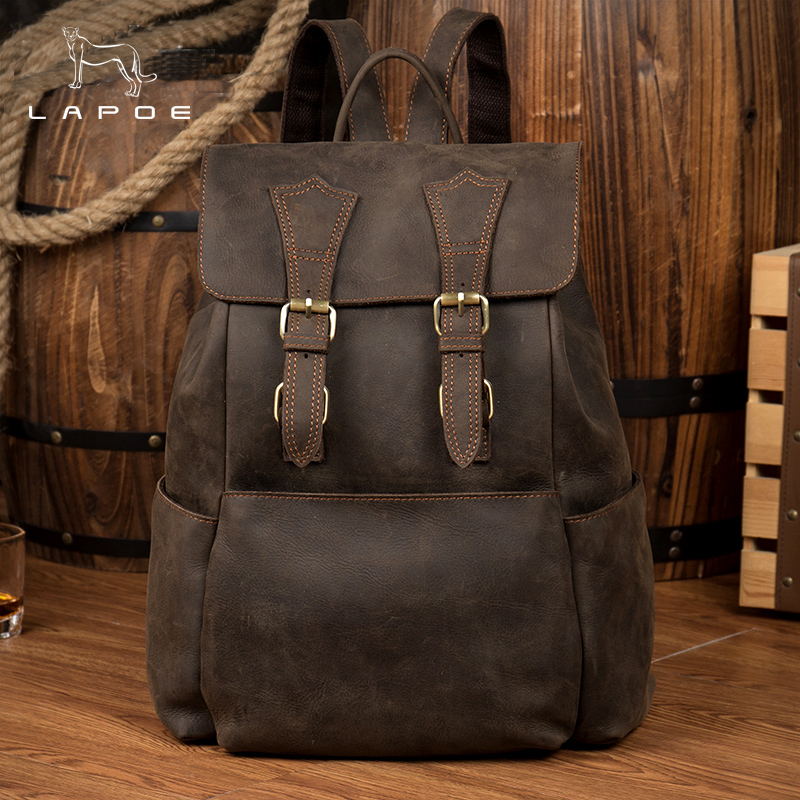 LAPOE Genuine Leather Backpack Crazy Horse Vintage Daypack Multi Pocket Casual Rucksack Vintage Handmade Tote Bolsa vintage casual handmade 100