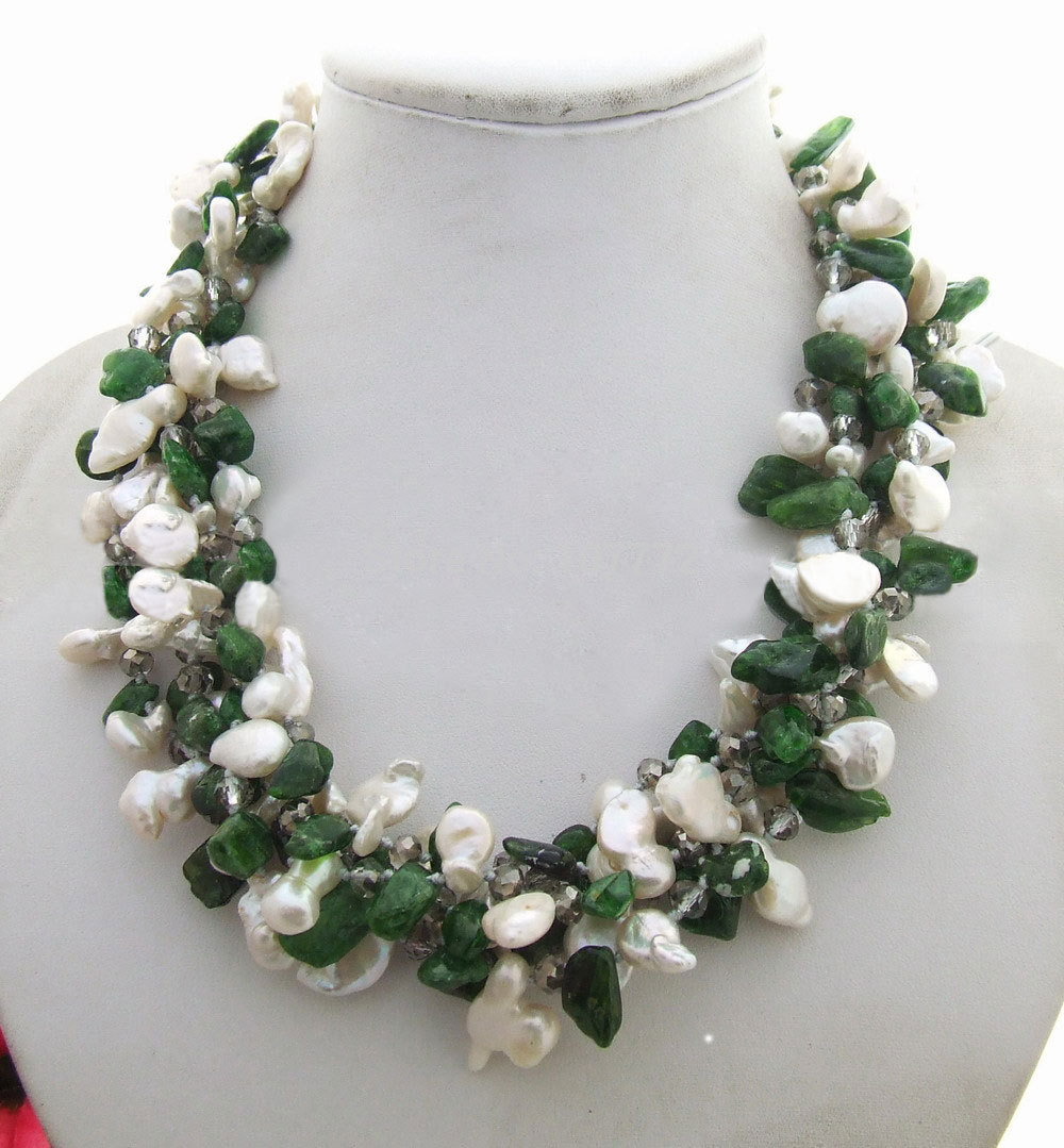 5 strands Pearl&Chrome Diopside Necklace