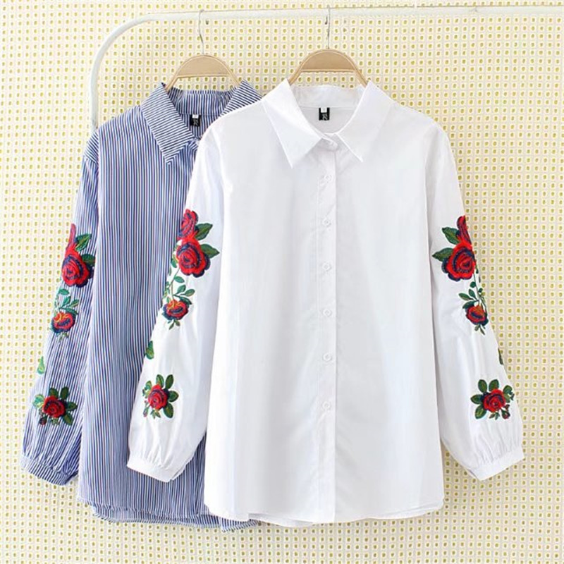 New 2017 Spring Summer Women Thin Shirt Cotton White Blouses Style Clothing Full Sleeve Ladies Floral