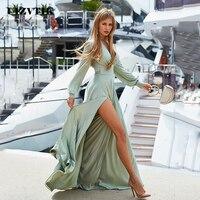 Роскошные летние платья Для женщин 2019 пикантная изящная обувь с глубоким v-образным вырезом Разделение Длинные вечерние платья Повседневно...