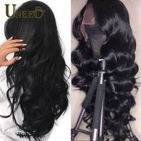 Uneed Body Wave Lace Front Human Hair Wigs For Women Pre Plucked Peruvian Remy Hair Wigs 4*4 Bleached Knots Baby Hair Free Ship