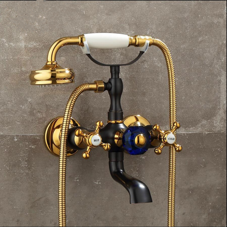 Shower Faucet Gold and Black Oil  Bathtub Faucets Hand Rain Shower Head Tap Luxury Ceramic Telephone Wall Bath & Shower Faucet Shower Faucet Gold and Black Oil  Bathtub Faucets Hand Rain Shower Head Tap Luxury Ceramic Telephone Wall Bath & Shower Faucet