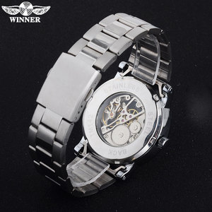 Image 5 - 2016 WINNER china brand men business mechanical hand wind watch skeleton dial silver case transparent glass stainless steel band