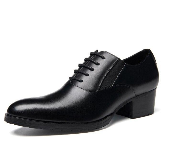 5 Alto Feitos Cm Black Homem Novo Genuíno Casamento Mão À Chegada De Couro Homens Dos Altura Formal Crescente Oxfords Salto Sapatos Vestido BOaq6xBwv