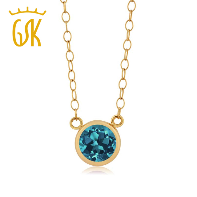 Blink GemStoneKing 0.55 Ct Ronda Topacio Azul Londres 14 K Oro Amarillo de Las Mujeres de Moda Colgante Con Collar de Cadena