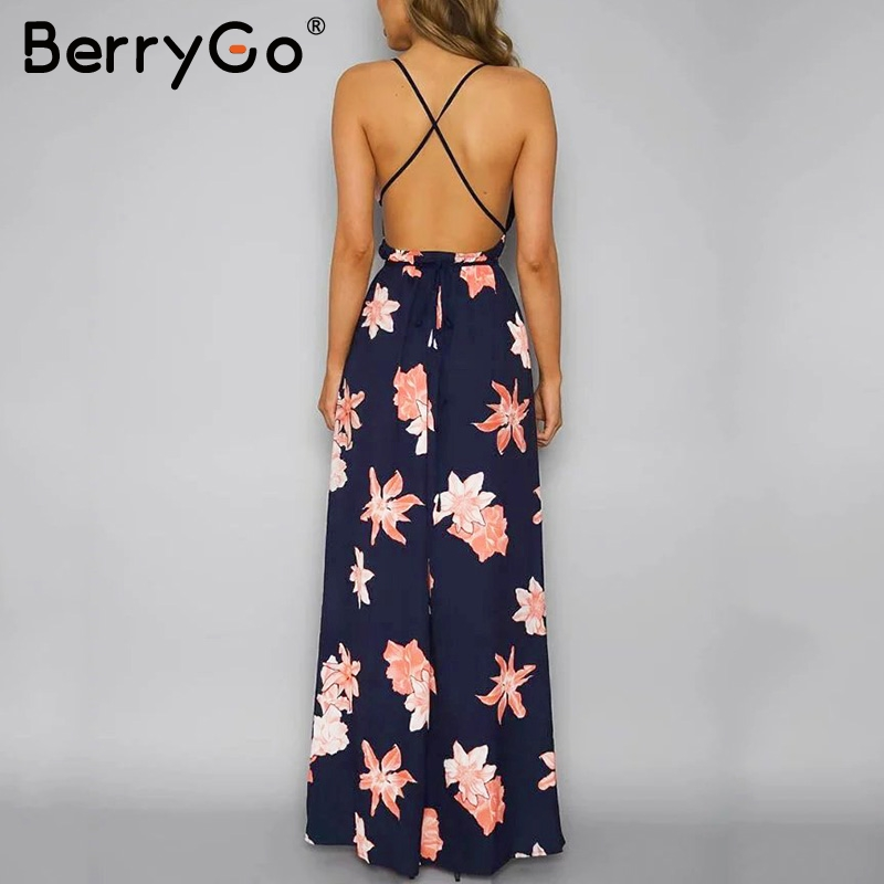 BerryGo Boho deep v neck backless long women dress Chiffon split cross lace up summer dress Sleeveless beach maxi dress vestidos 2