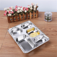 NEW Eco Lunchbox Stainless Steel Divided Lunch Food Serving Bento Box Tray Cover Restaurant Canteen Tableware
