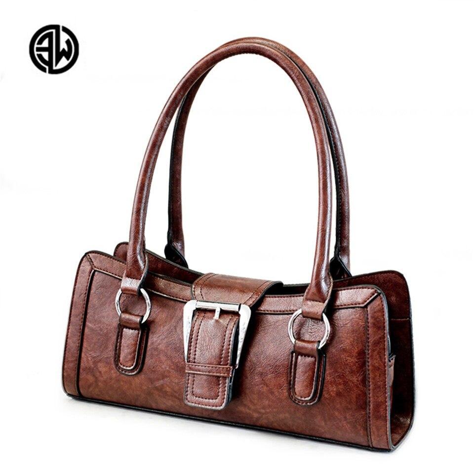 ETONWEAG Women Fashion Boston Bag Designer Women Handbag Genuine Leather Shoulder Bag Ladies Purse Holder Retro Casual Tote