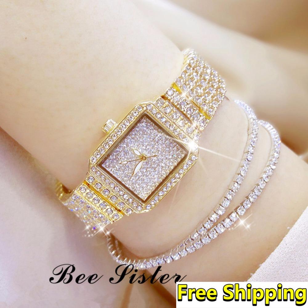 Women Watches 2018 Top Brand Luxury Fashion Square Women Watch Diamond lady wrist watch Dress Wristwatch Gold Women Watches 2019