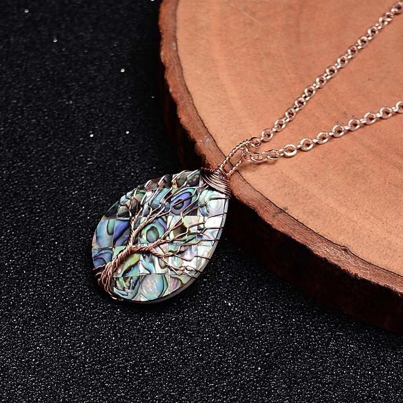 ライフペンダントネックレス銅ワイヤーラップ天然石貝殻アワビジュエリーウォーター涙滴形のギフト