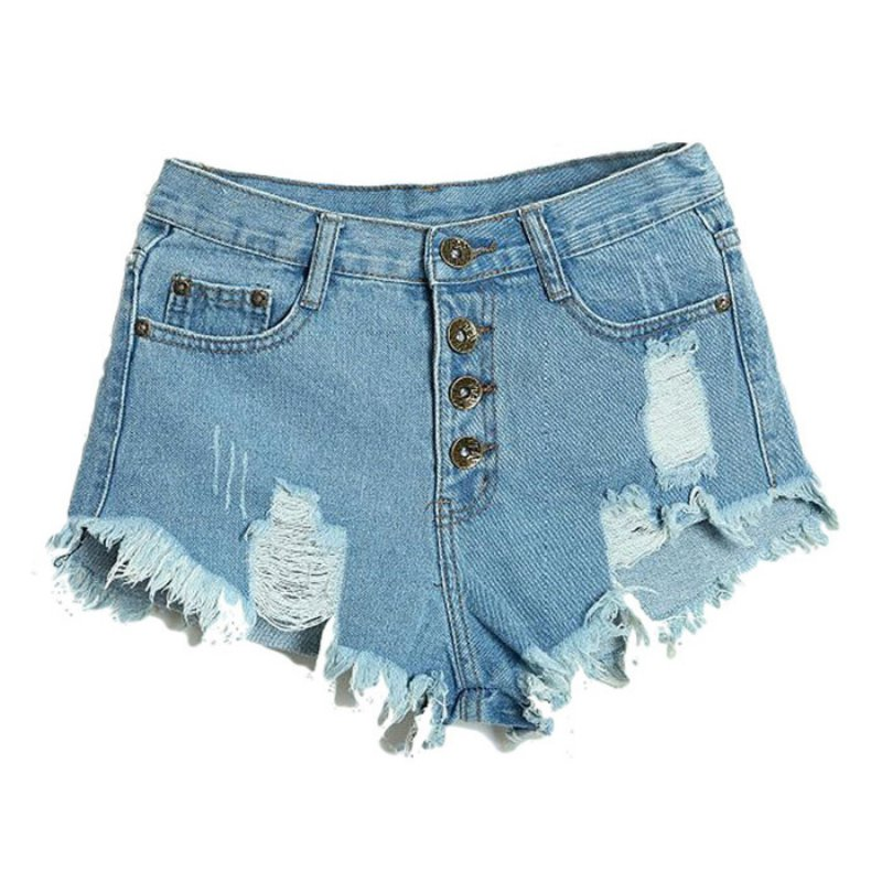 2017 Summer Sexy Women's Irregular High Waisted Shorts Slim Fit Denim Jeans Shorts Worn Loose Burr Hole Jeans Femme
