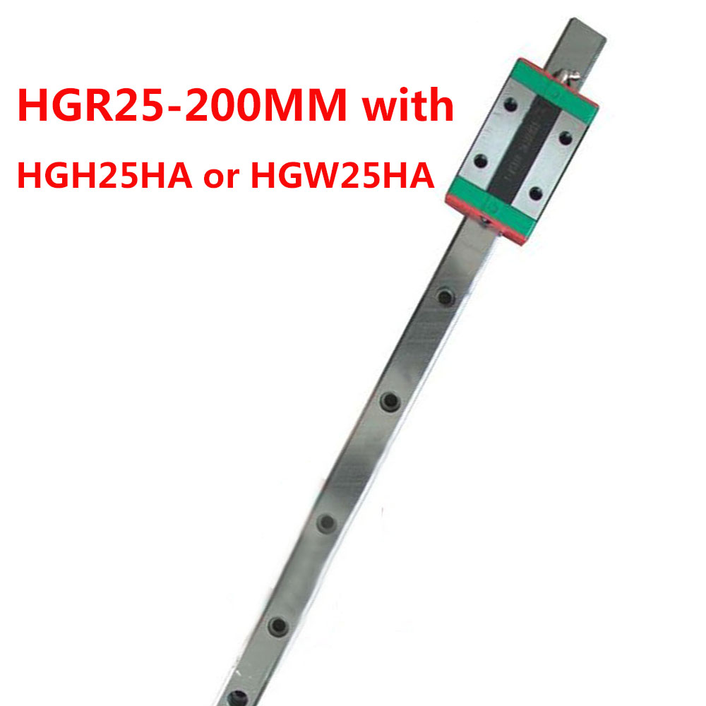 1PC HGR25 Linear Guide Width 25MM Length 200MM with 1PC HGH25HA or HGW25HA Slider for cnc xyz axis large format printer spare parts wit color mutoh lecai locor xenons block slider qeh20ca linear guide slider 1pc