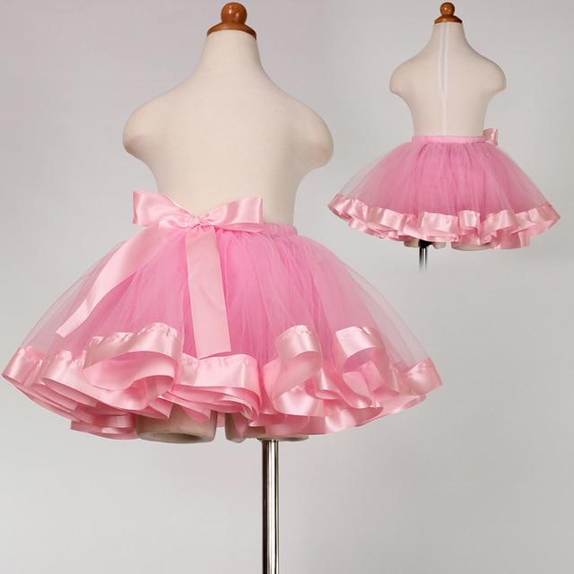 2016 New Summer Style Cute Fluffy  Tulle Girls Tutu Skirt Pettiskirt Pink Bow Baby Girls Skirts For 2-12 Years Tutu Jupe Fille
