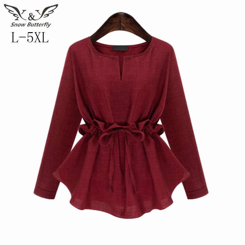 Kaos Wanita 2019 Fashion Lengan Panjang Kemeja Linen Blus Longgar Plus Ukuran Blosues Atasan Wanita Korea Fashion Pakaian L-4XL 448