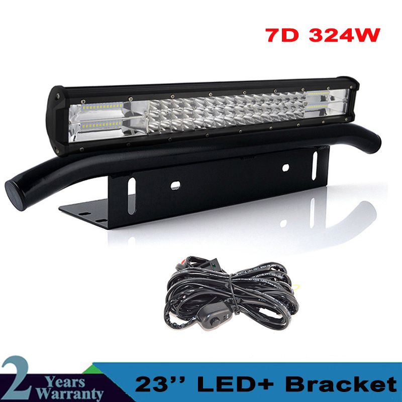 23'' Inch 324W <font><b>Led</b></font> <font><b>Light</b></font> Bar +Front License Plate Bracket for Truck SUV 4x4 4WD <font><b>Car</b></font> <font><b>Offroad</b></font> Driving Lamps 12v 24v image